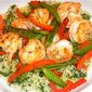 Pan-Seared Shrimp and Vegetables with Spinach-Couscous and Garlic Oil