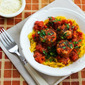 Roasted Spaghetti Squash Recipe with Homemade Tomato-Garlic Sauce and Chicken Sausage Meatballs