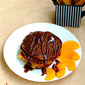 Eggless Brown Rice & Peach Pancakes