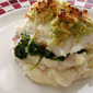 Baked Halibut with Pine Nut, Parmesan and Arugula Pesto Crust