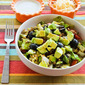 Recipe for Vegetarian Lentil Taco Salad with Tomatoes, Olives, and Avocado