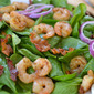 Spinach & Shrimp Salad with Warm Bacon Dressing