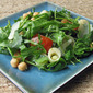 Recipe #354: Baby Rocket, Chickpea, & Hearts of Palm Salad with Shaved Manchego Cheese, Tossed in a Lemon-Mint Vinaigrette