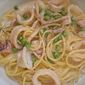 Pasta with Calamari and Sweet Peas in Garlicky Cream Sauce