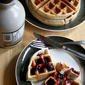 Overnight Waffles with Quick Berry Sauce