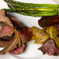 Pan-Seared Oven-Finished Salt and Pepper Rack of Lamb with Crispy Smashed Potatoes and Roasted Asparagus