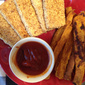 Crispy Tofu Strips and Baked Sweet Potato Fries