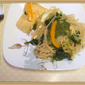 Poached Salmon and Spinach and Noodles