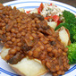 Chili Lentils Over Baked Potatoes
