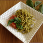 Raw Yam-Noodles with Tomato-Basil Pesto