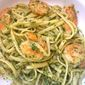 Linguini with Garlic Shrimp in Parsley-Pecan Pesto
