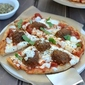 Vegetarian Pita Pizza with Meatless Meatballs