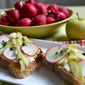 Radish and Apple Salad with Homemade Ricotta on Crostini