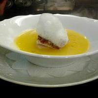 Nodoguro cotto con olii essenziali in salsa di zafferano e schiuma di mare siciliano