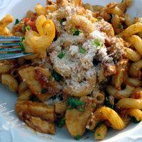 Cavatappi pasta with salmon crab surimi