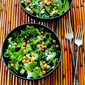 Leafy Greens Salad with Roasted Chickpeas, Feta, and Mediterranean Sumac Dressing