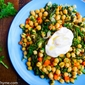 Broccoli Rabe & Chickpea Saute with Savory Greek Yogurt Dressing