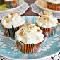 Cream Cheese Frosting with Carrot Cake Cupcakes on the Side