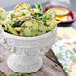 Penne with Arugula Pesto, Potatoes and Spring Vegetables