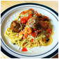 Lemon-Butter Chicken Meatballs with Tomatoes over Angel hair