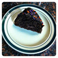 Ghiradelli Chocolate pound cake with Dark Choc. liqueur frosting