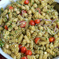 Cheesy Chickpea and Pesto Pasta Salad