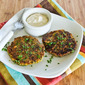 Recipe for Chickpea and Brown Rice Patties with Parsley, Mint, and Yogurt-Tahini Sauce