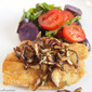 Pan Fried Redfish Recipe with Sautéed Shiitake Mushrooms and Purple Potato Salad