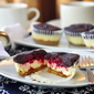 Raspberry Tuxedo Mini Cheesecakes