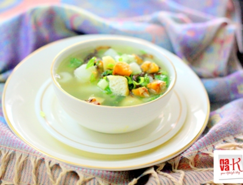 Salted fish and vegetable soup recipe by navaneetham for Fish and vegetable recipes
