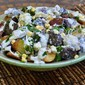 Roasted Fingerling Potato Salad with Corn, Blue Cheese & Lemony Creme Fraiche Dressing