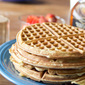 Flour-less Power Waffles with Skinny Cinnamon Cream Syrup