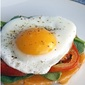 Open Faced Egg and Tomato Breakfast Sandwich