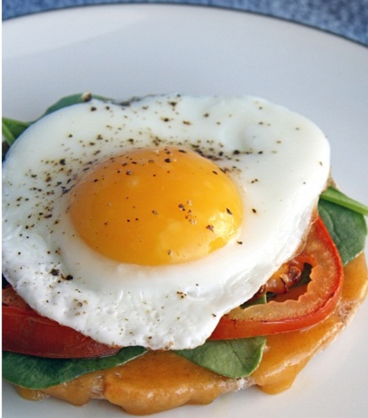Open Faced Egg and Tomato Breakfast Sandwich Recipe by ...