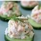 Dilly Salmon Salad on Cucumber Rounds
