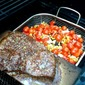 Garlic & Rosemary Marinated Steak on a Maple Plank with Charred Salsa
