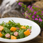 Arugula, Cantaloupe, and Ham Salad with Pink Peppercorn Vinaigrette