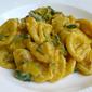 orecchiette pasta in a creamy zucchini and saffron sauce