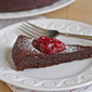 Flourless chocolate cake with strawberry-rhubarb jam