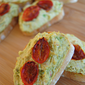 Avocado, Goat Cheese + Roasted Tomato Crostini