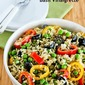 Brown Rice Salad Recipe with Olives, Bell Peppers, Peas, and Basil Vinaigrette