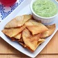 Homemade Tortilla Chips with Creamy Avocado Dip