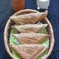 Cheesy green chutney and potato sandwich -- Bread recipes