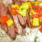 Grilled Skirt Steak with Tomato-Mango Salsa and Coconut Rice