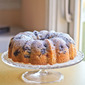 #BundtAMonth: Vinho Verde Pound Cake with Peaches & Blueberries