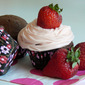 Chocolate Cupcakes with Almond Dipped Strawberries