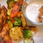 Spicy Chicken Tenders with Grilled Vegetables and Chile-Ranch Dipping Sauce