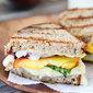 Grilled Peach, Brie & Basil Sandwich