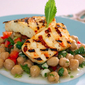 Some kind of fast food – Chickpea, red pepper and herb salad with grilled haloumi