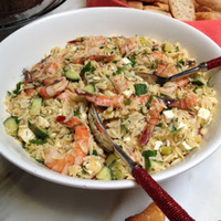 Roasted Shrimp and Orzo and Beets with Orange Vinaigrette